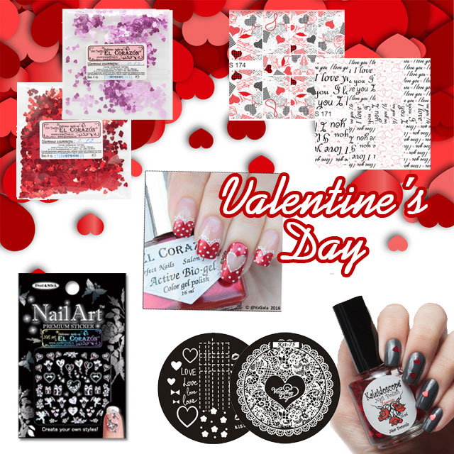 Nail decorations for Valentine's day