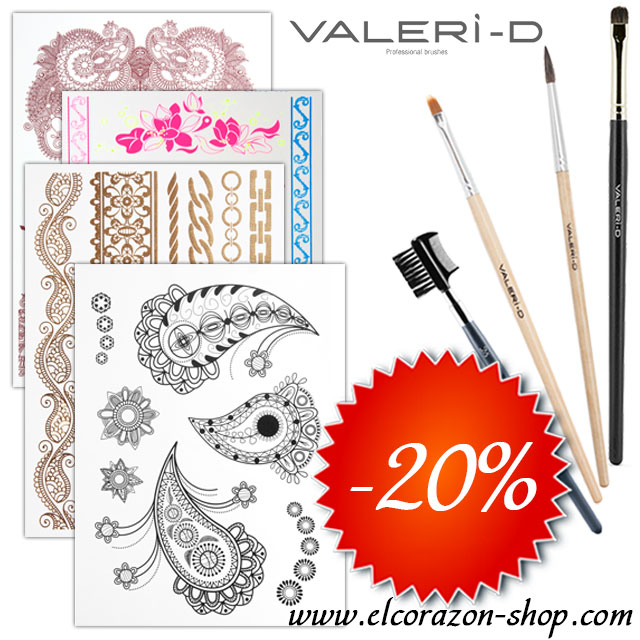 20% off on Valeri-D brushes and Gold and Flash tattoos!