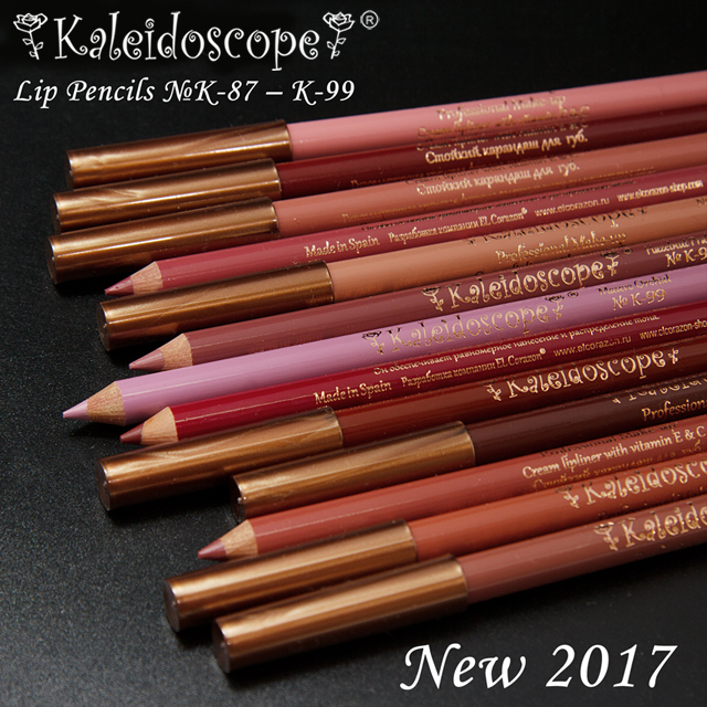 New colors of Kaleidoscope by El Corazon Lip Liners!