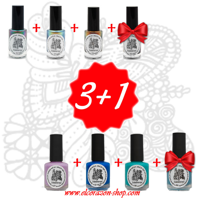 3+1! Buy 3 Kaleidoscope stamping nail polishes and get get the 4th for free!