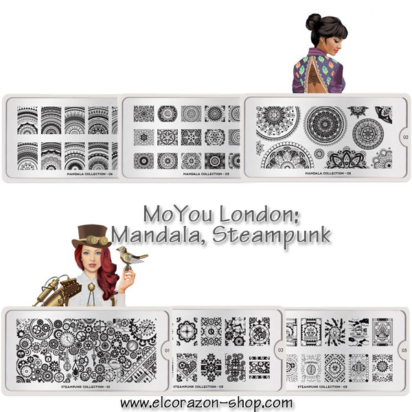 New collections of MoYou London stamping plates: Mandala and Steampunk!