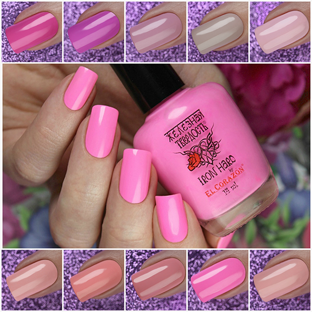 New shades of colored curative nail polish Iron Hard by El Corazon